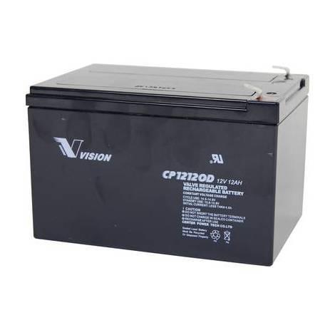 Batterie au plomb 12 V 12 Ah Vision Akkus CP12120D plomb (AGM) (l x h x p) 151 x 101 x 98 mm cosses plates 6,35 mm sans entretien, résistant aux cycles de