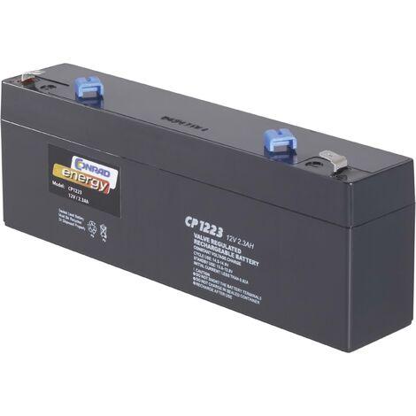 Batterie au plomb 12 V 2.3 Ah Conrad energy CE12V/2,3Ah plomb (AGM) (l x H x P) 177 x 60 x 34 mm cosses plates 4,8 mm sans entretien A37944