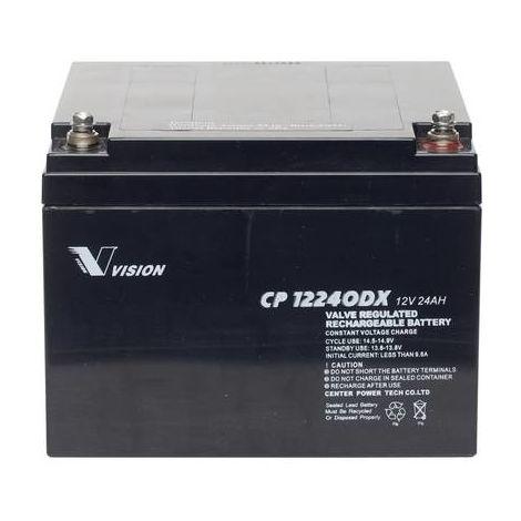 Batterie au plomb 12 V 24 Ah Vision Akkus CP12240DX plomb (AGM) (l x h x p) 166 x 125 x 175 mm raccord à vis M5 sans entretien, résistant aux cycles de charge