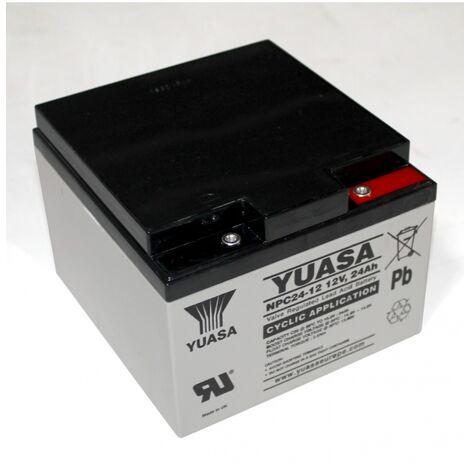 Batterie au plomb 12 V 24 Ah Yuasa NPC24-12 plomb (AGM) (l x H x P) 175 x 125 x 166 mm raccord à vis M5 sans entretien, résistant aux cycles de char A37653