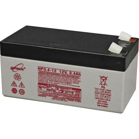 Batterie au plomb 12 V 3.4 Ah EnerSys Genesis plomb (AGM) (l x H x P) 134 x 67 x 67 mm cosses plates 6,35 mm sans entretien, certification VdS, auto-d W621491
