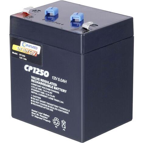 Batterie au plomb 12 V 5 Ah Conrad energy 12 V 5 Ah plomb (AGM) (l x H x P) 90 x 101 x 70 mm cosses plates 4,8 mm sans entretien A37091