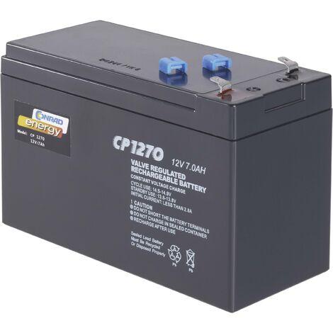 Batterie au plomb 12 V 7 Ah Conrad energy CE12V/7Ah plomb (AGM) (l x H x P) 151 x 95 x 65 mm cosses plates 4,8 mm sans entretien A37575