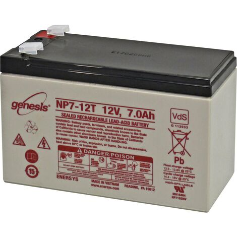Batterie au plomb 12 V 7 Ah EnerSys Genesis plomb (AGM) (l x H x P) 151 x 100 x 65 mm cosses plates 6,35 mm sans entretien, certification VdS, auto-d S024331