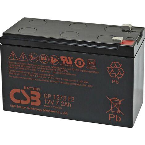 Batterie au plomb 12 V 7.2 Ah CSB Battery GP 1272 Standby USV GP1272F2 (l x H x P) 150 x 97 x 65 mm cosses plates 6,35 mm 1 pc(s) X843171