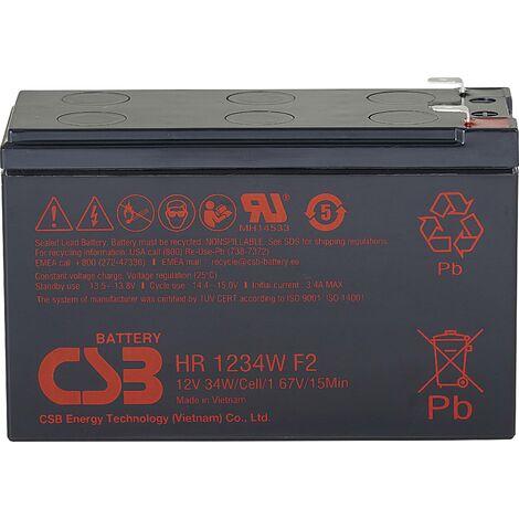 Batterie au plomb 12 V 8.4 Ah CSB Battery HR 1234W high-rate HR1234WF2 (l x H x P) 151 x 99 x 65 mm cosses plates 6,35 mm 1 pc(s) X843201