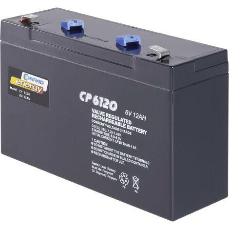 Batterie au plomb 6 V 12 Ah Conrad energy CE6V/12Ah plomb (AGM) (l x H x P) 151 x 94 x 50 mm cosses plates 6,35 mm sans entretien A37932