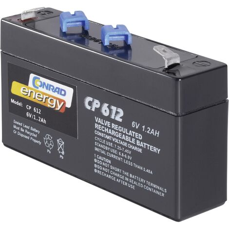 Batterie au plomb 6 V 1.2 Ah Conrad energy CE6V/1,2Ah plomb (AGM) (l x H x P) 97 x 51 x 25 mm cosses plates 4,8 mm sans entretien A37709