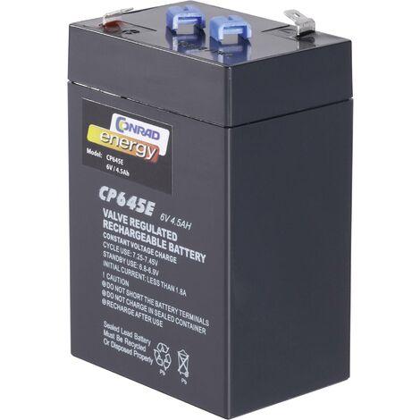Batterie au plomb 6 V 4.5 Ah Conrad energy CE 6V / 4,5 Ah plomb (AGM) (l x H x P) 70 x 108 x 48 mm cosses plates 4,8 mm sans entretien A37998