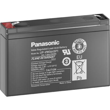 Batterie au plomb 6 V 7.8 Ah Panasonic sans entretien, auto-décharge réduite V743091