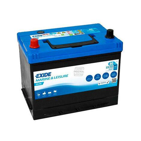 Batterie bateau EXIDE Dual ER350 (350Wh) 12V 80Ah Auto