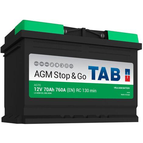 Batterie de démarrage TAB Start&Stop AGM L3 AG70 12V 70Ah 760A