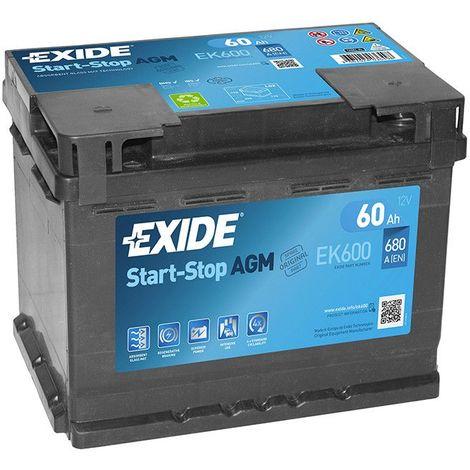 Batterie Exide AGM Start And Stop EK600 12V 60ah 680A FK600