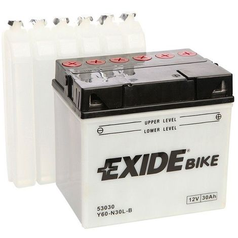 Batterie moto Exide E60-N30L-B Y60-N30L-B 12v 30ah 300A
