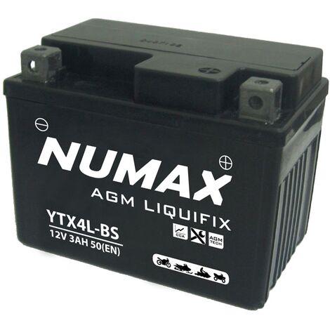 Batterie moto Numax Premium AGM avec pack acide YTX4L-BS 12V 3Ah 50A
