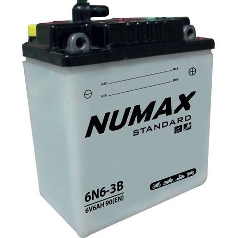 Batterie moto Numax Standard avec pack 6N6-3B 6V 6Ah 40A
