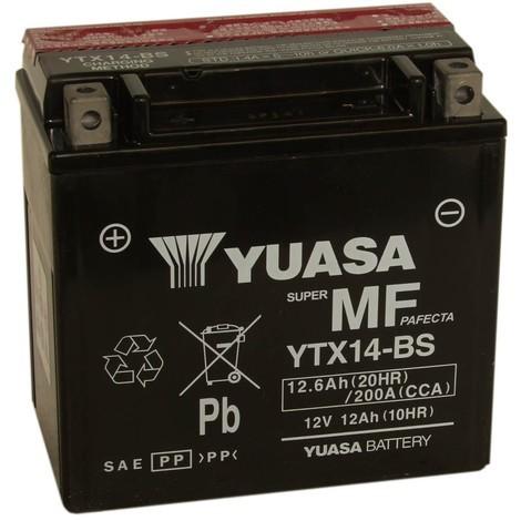 Batterie moto YTX14-BS Yuasa avec pack acide - 12V – 12Ah