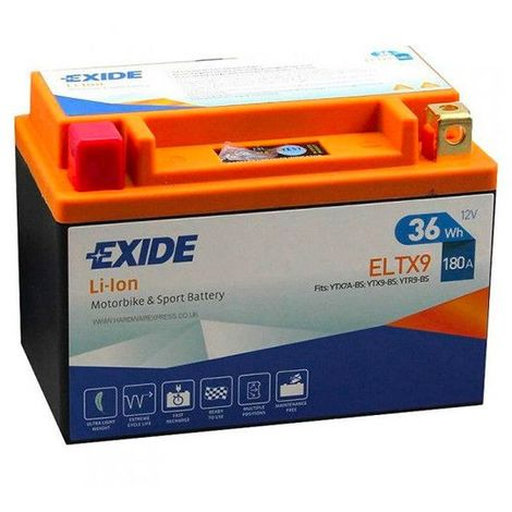 Batterie moto YTX9-BS Exide Lithium Li-ion 12V 3AH 180A ELTX9 YTX7A-BS