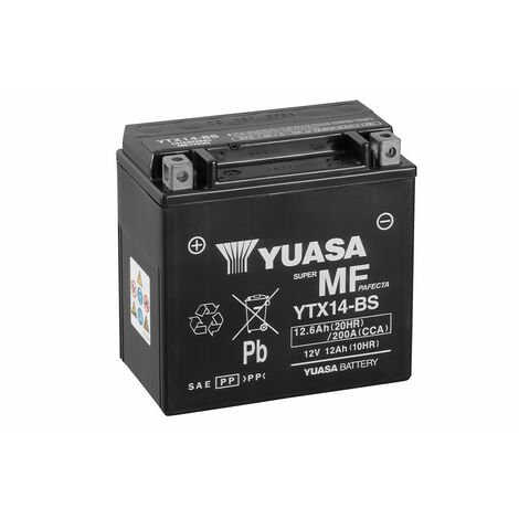 BATTERIE MOTO YUASA AGM YTX14-BS 12V 12AH 200A