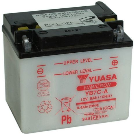 Batterie moto YUASA YB7C-A 12V 7.4ah 75A