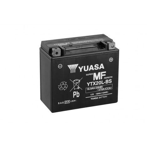 Batterie moto YUASA YTX20L-BS 12V 18.9AH 270A