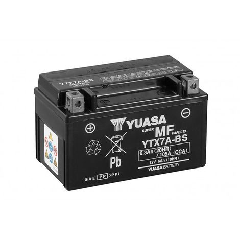 Batterie moto YUASA YTX7A-BS 12V 6.3AH 105A