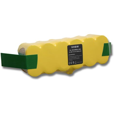 vhbw batterie Ni-MH 3000mAh 14.4V compatible avec iRobot Roomba 531, 534, 564, 565, 590 remplace 11702, GD-Roomba-500, VAC-500NMH-33