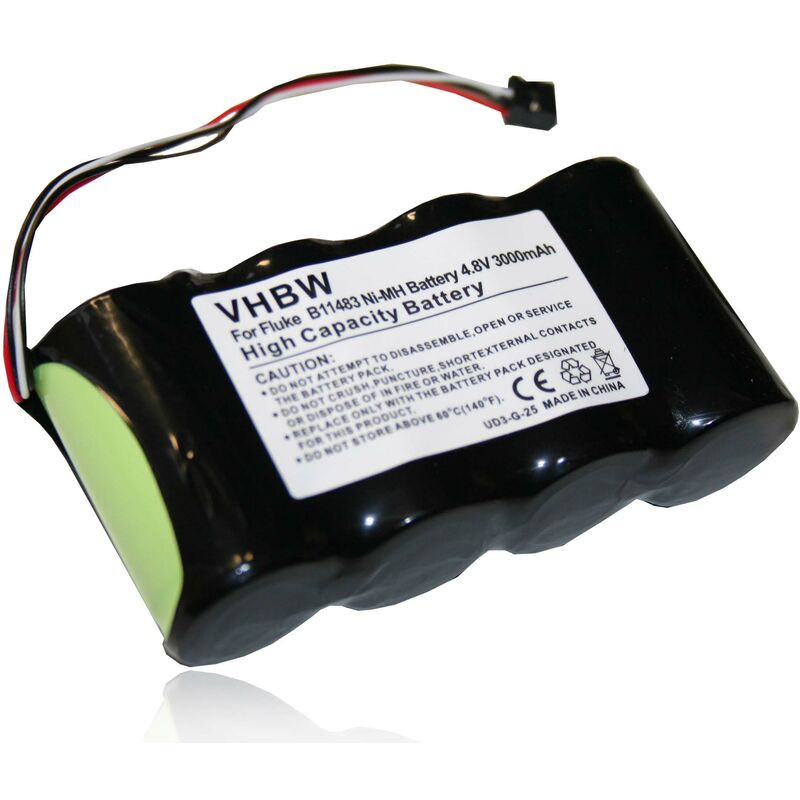 Batterie Ni-MH, 3000mAh, 4.8V, pour oscilloscope Fluke Scopemeter 125, 125/003S, Fluke 43, 43B, remplace le modèle BP120MH - VHBW