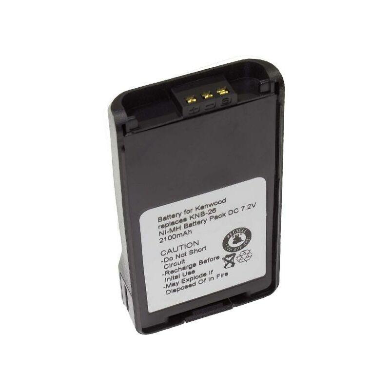 Batterie Ni-MH vhbw 2100mAh (7.2V) pour Talkie-Walkie Kenwood TK-2160, TK-2168 comme KNB-24L, KNB-25A, KNB-26, KNB-26N, KNB-35L, KNB-55L, KNB-56N.