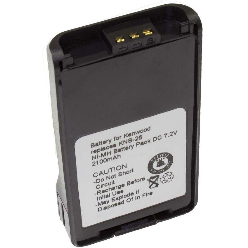 Batterie Ni-MH vhbw 2100mAh (7.2V) pour Talkie-Walkie Kenwood TK-3148 comme KNB-24L, KNB-25A, KNB-26, KNB-26N, KNB-35L, KNB-55L, KNB-56N.