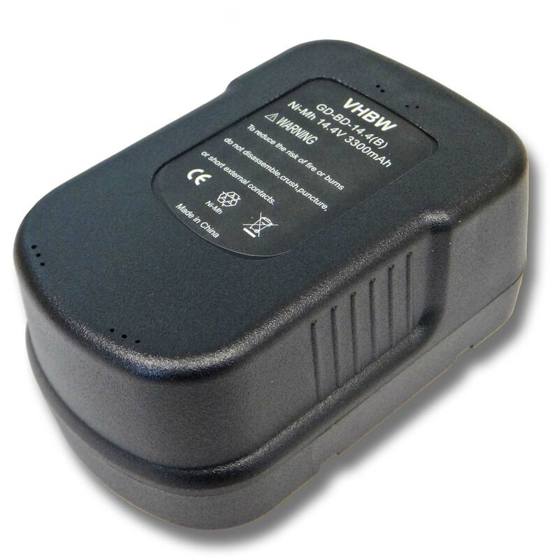 Batterie Ni-Mh vhbw 3300mAh (14.4V) pour outils Black & Decker 499936-34, 499936-35, A14, A144, A144EX, A14F, HPB14, FIRSTORM FS140BX