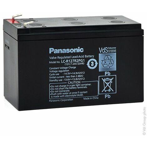 Batterie plomb AGM PANASONIC LC-R127R2PG1 12V 7.2Ah F6.35