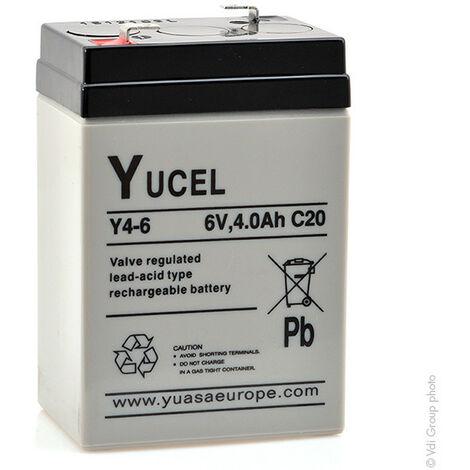 Batterie plomb AGM YUCEL Y4-6 6V 4Ah F4.8