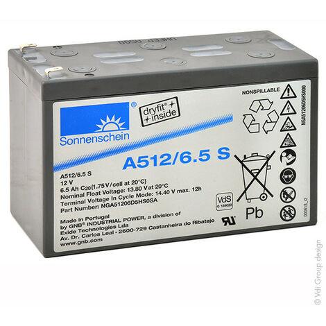 Batterie plomb etanche gel A512/6.5S 12V 6.5Ah F4.8