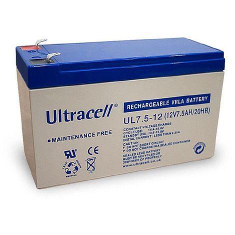 Batterie plomb étanche UL7.5-12 Ultracell 12v 7.5ah
