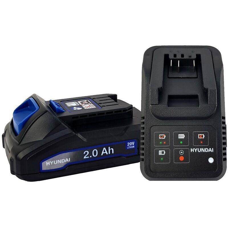 Batterie pour outil électroportatif - HYUNDAI HBA20U2 - 2Ah avec Chargeur - Compatible avec tous les outils de la gamme 20V