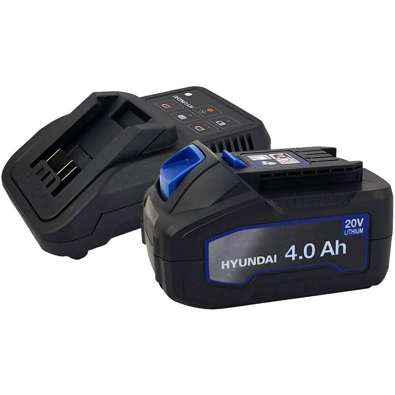 Batterie pour outil électroportatif - HYUNDAI HBA20U4 - 20V - 4Ah avec Chargeur HFC20U - Compatible avec la gamme 20V