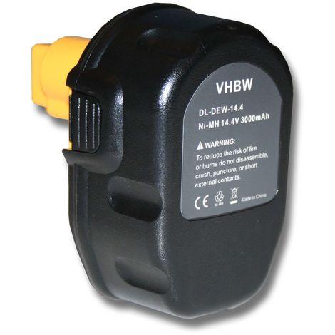 Batterie pour outils NI-MH 3000mAh 14.4V, noir, pour DEWALT remplace DC9091, DE9038, DE9091, DE9092, DE9094, DE9140, DE9141, DE9502, W9091, DW9094