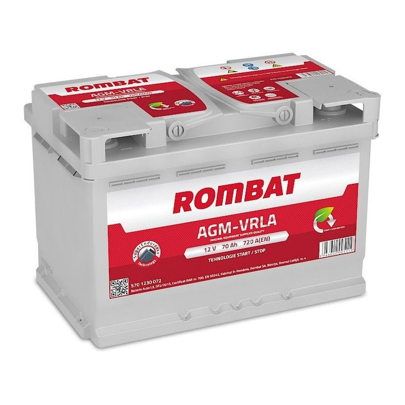 Batterie AGM Start And Stop 12V 70ah 720A - Rombat