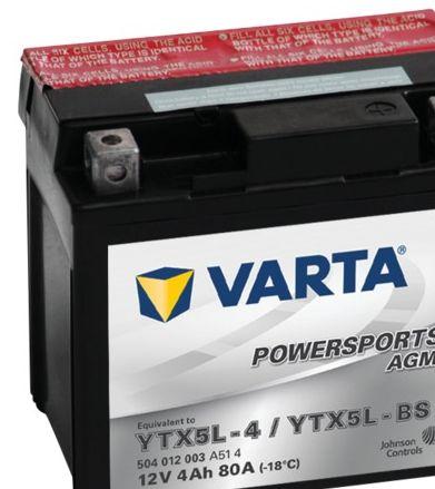 Batterie Varta Powersports AGM YTX5L-4 - 12V 4Ah 80A