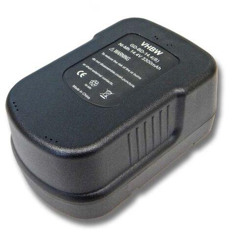 Batterie vhbw Ni-MH 3300mAh (14.4V) pour outils Black & Decker R143F2 Radio, RD1440K, RD1441K, SX4000, SX5500, SX6000, SX7000, SX7500, XTC143BK