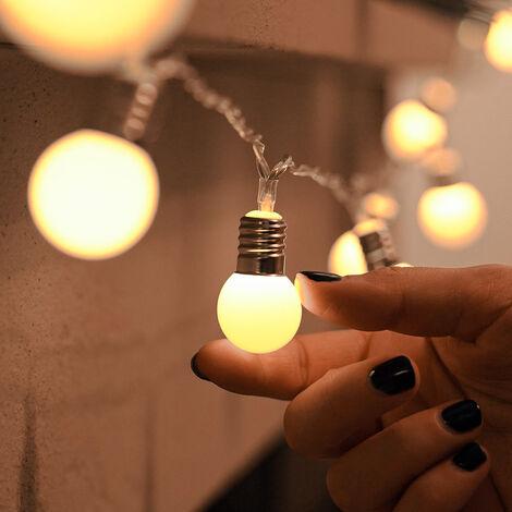 Battery Frosted Mini Festoon Bulb Fairy Lights, 10 Warm White LEDs