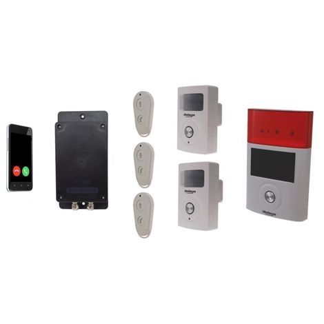 Battery GSM UltraDIAL Alarm with 2 x BT PIR's & Solar Siren
