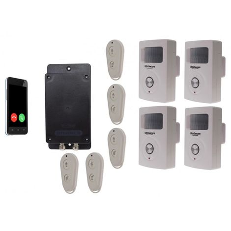 Battery GSM UltraDIAL Alarm with 4 x BT PIR's