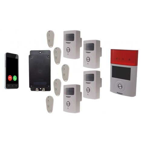 Battery GSM UltraDIAL Alarm with 4 x BT PIR's & Solar Siren