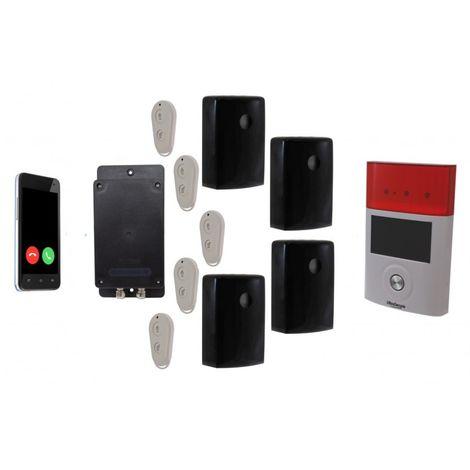 Battery GSM UltraDIAL Alarm with 4 x Outdoor BT PIR\'s & 1 x Solar Siren