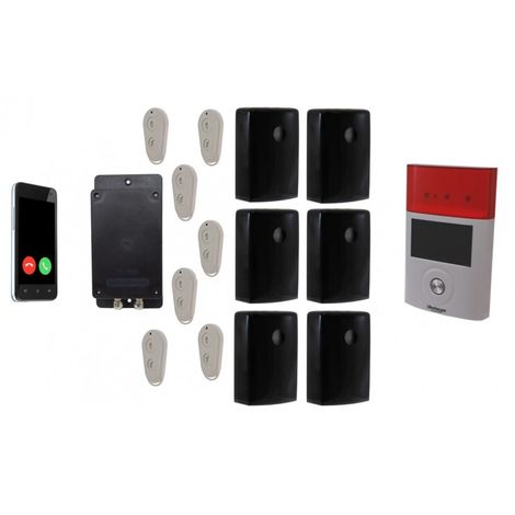 Battery GSM UltraDIAL Alarm with 6 x Outdoor BT PIR's & 1 x Solar Siren