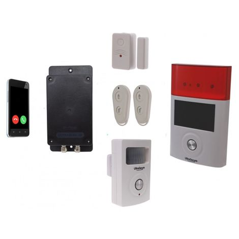 Battery GSM UltraDIAL Alarm with PIR, Door Contact & Solar Siren