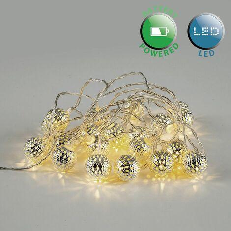 Battery Operated 20 Warm White Silver Lattice Maroq Lantern Globe Shaped LED Fairy String Lights
