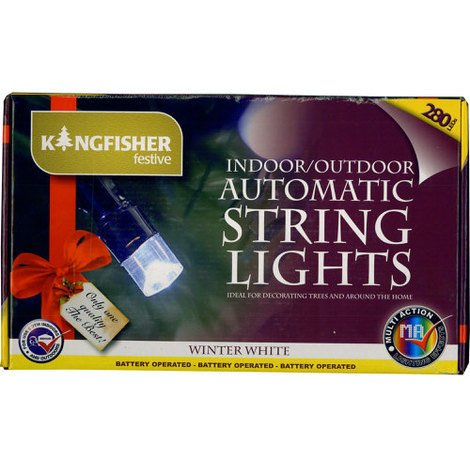 Battery Operated Automatic String Lights Winter White LED 280 Bulb with Timer